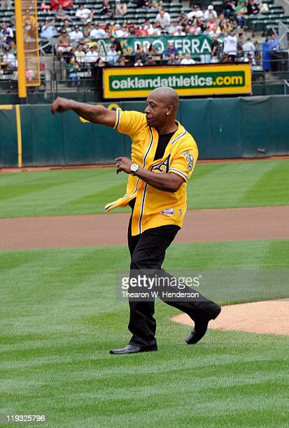 American rapper entertainer MC Hammer throws out the ceremonial first pitch before a MLB baseball game between the Los Angeles Angels of Anaheim and...