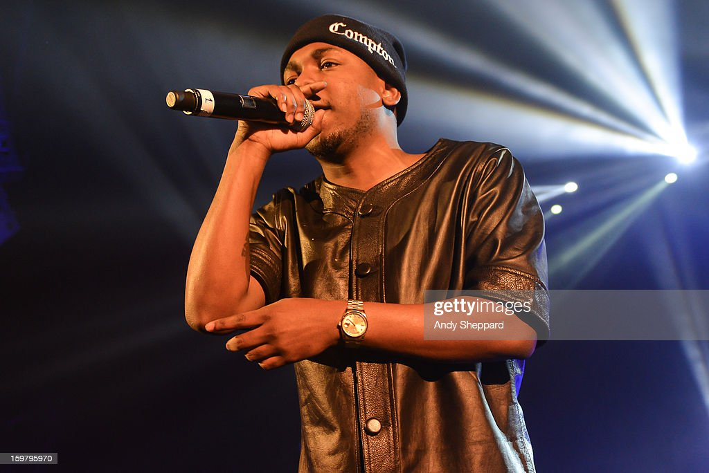 American Rapper <a gi-track='captionPersonalityLinkClicked' href=/galleries/search?phrase=Kendrick+Lamar&family=editorial&specificpeople=8012417 ng-click='$event.stopPropagation()'>Kendrick Lamar</a> performs on stage at Hammersmith Apollo on January 20, 2013 in London, United Kingdom.