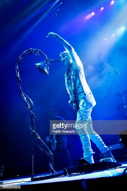 American rapper Machine Gun Kelly performs live on stage in support of Linkin Park during a concert at the MercedesBenz Arena on June 12 2017 in...