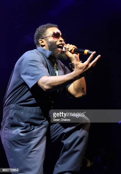American rapper Pharoahe Monch performs with The Soul Rebels brass band of New Orleans at the Prospect Bandshell as part of the 39th annual BRIC...