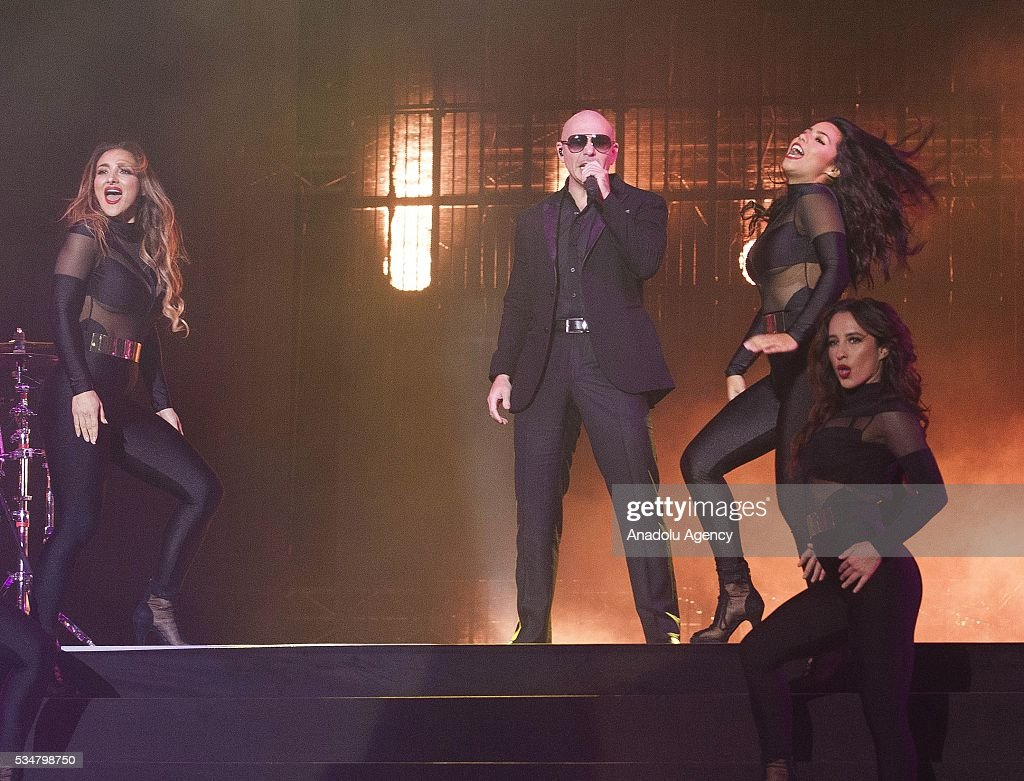 American rapper Pitbull (C) performs during the 15th International Mawazine Music festival at OLM Souissi in Rabat, Morocco on May 28, 2016.