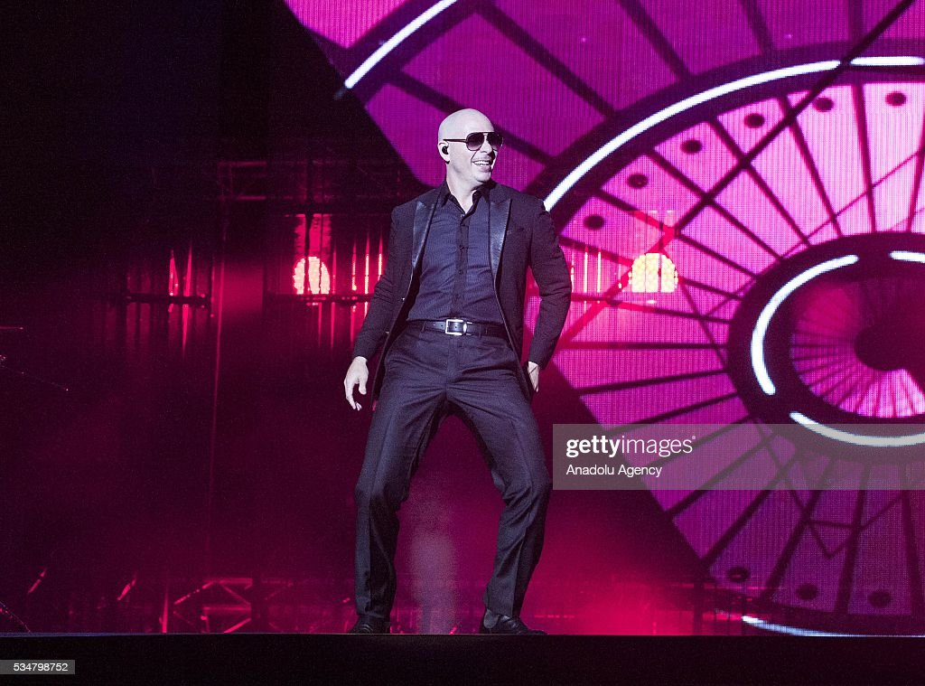 American rapper Pitbull performs during the 15th International Mawazine Music festival at OLM Souissi in Rabat, Morocco on May 28, 2016.