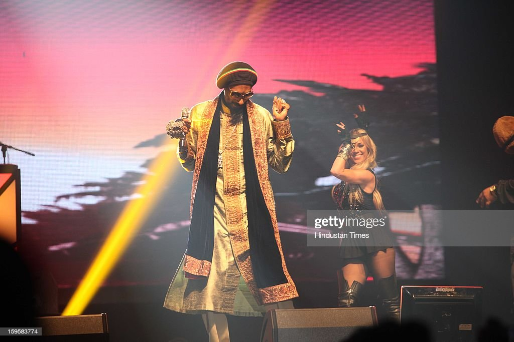 American rapper Snoop Dogg performs during his concert at Gurgaon's Leisure Valley Park on January 13, 2013 in Gurgaon, India.