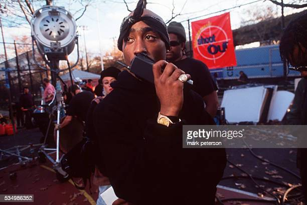 Tupac Shakur on the set of 'Above the Rim' in Harlem