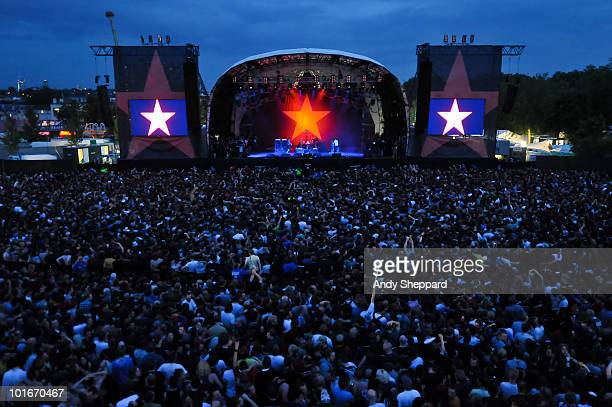 American raprockers Rage Against The Machine perform a free concert at Finsbury Park on June 6 2010 in London England