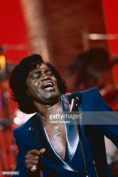 American RB and Soul singer James Brown performs on an episode of the television show 'Thicke of the Night' Los Angeles California 1983
