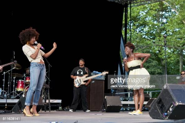 American RB musician Ledisi performs with guest Esperanza Spalding at Central Park SummerStage New York New York June 28 2009