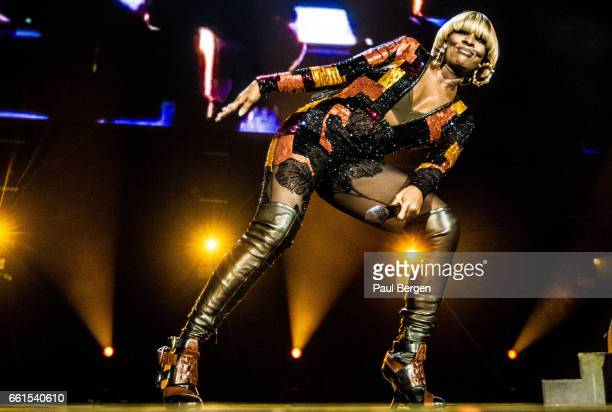 American RB singer Mary J Blige performs on stage at Ziggo Dome Amsterdam Netherlands 25 October 2016