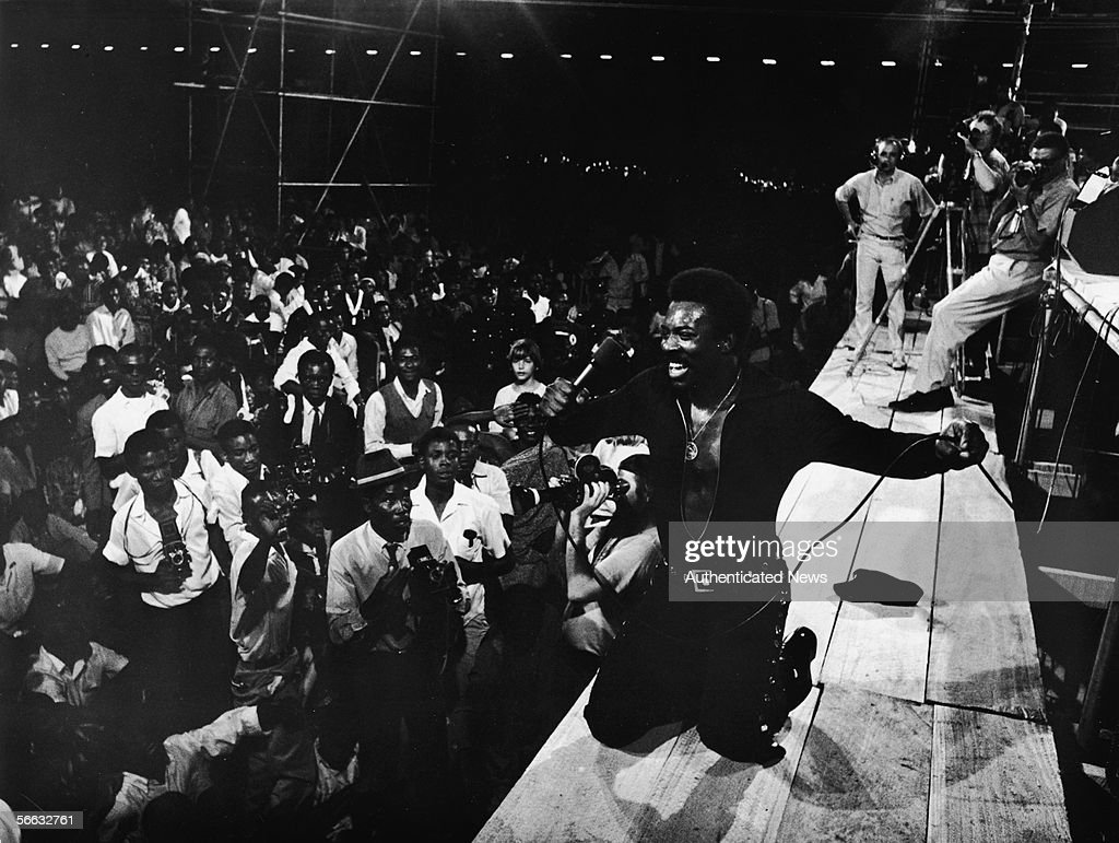 American rb singer Wilson Pickett on his knees performs at the 'Soul to Soul' concert in Accra Ghana February 28 1971