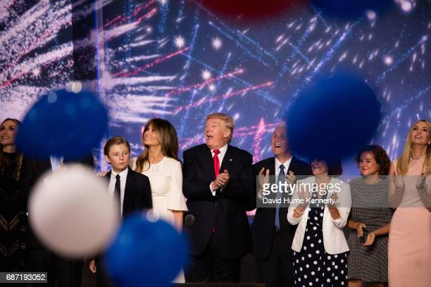 American real estate developer and presidential candidate Donald Trump and his running mate Indiana Governor and vicepresidential candidate Mike...