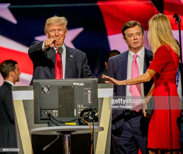 American real estate developer and presidential candidate Donald Trump on stage during the sound check on the final day of the Republican National...
