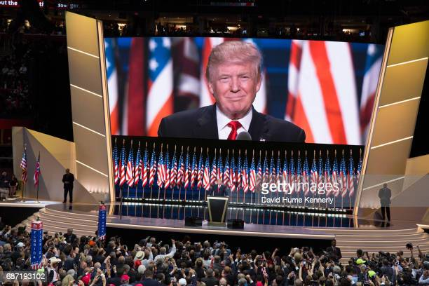 American real estate developer and presidential candidate Donald Trump delivers the keynote address on the last day of the Republican National...