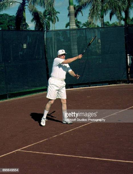 American real estate developer Donald Trump plays tennis at the MaraLago ProAm tennis tournament held on the MaraLago estate Palm Beach Florida...