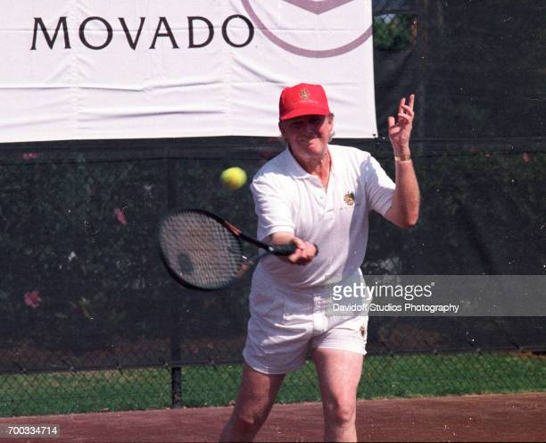 American real estate developer Donald Trump plays tennis at the CapCure ProAm Invitational Tennis Tournament held on the MaraLago estate Palm Beach...