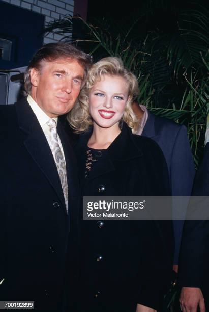 American real estate magnate Donald Trump and model Eva Herzigova at the 'A Night In Casablanca' Benefit Auction at Casa La Femme in New York City...