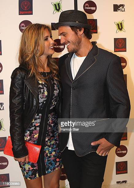 American reality television personality Audrina Patridge and boyfriend Corey Boham arrive at MTV Snow Jam 2011 on July 14 2011 in Melbourne Australia