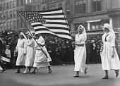 American Red Cross nurses on parade circa 1917