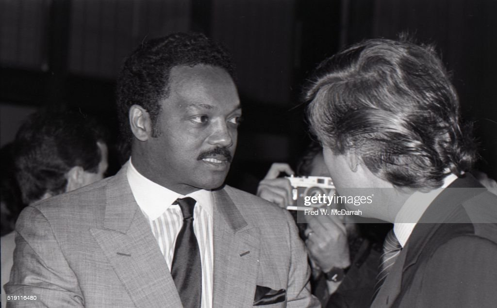 American religious leader and political candidate Jesse Jackson and businessman Donald Trump attend a campaign event on the eve of the New York Democratic Presidential Primary, New York, New York, April 18, 1988.