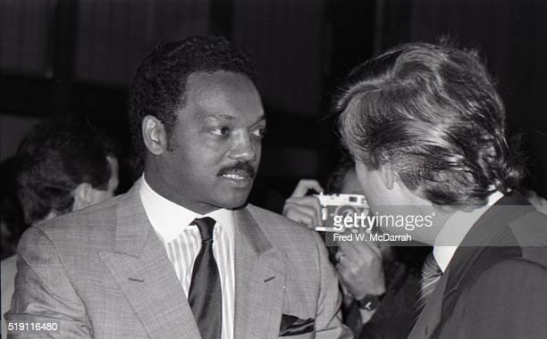 American religious leader and political candidate Jesse Jackson and businessman Donald Trump attend a campaign event on the eve of the New York...