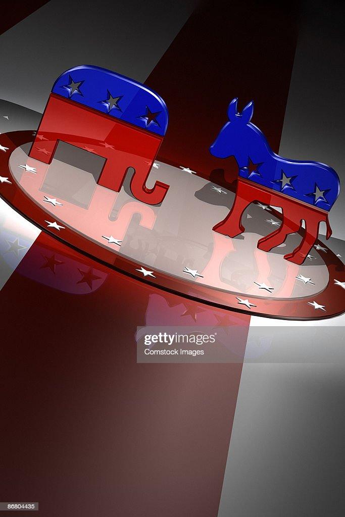American Republican and Democratic party animal symbols : Stock Photo