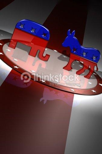 American Republican And Democratic Party Animal Symbols Stock Photo