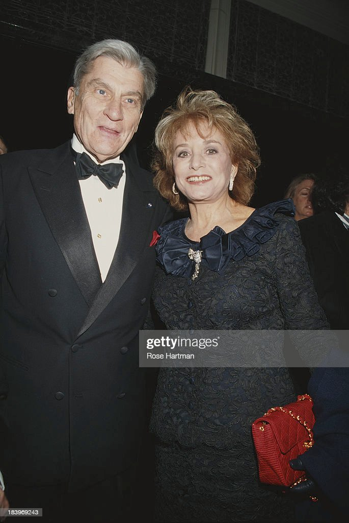 American Republican politician John Warner and American broadcast journalist Barbara Walters attend the 70th anniversary party for 'The New Yorker' magazine, 1995. New York City,