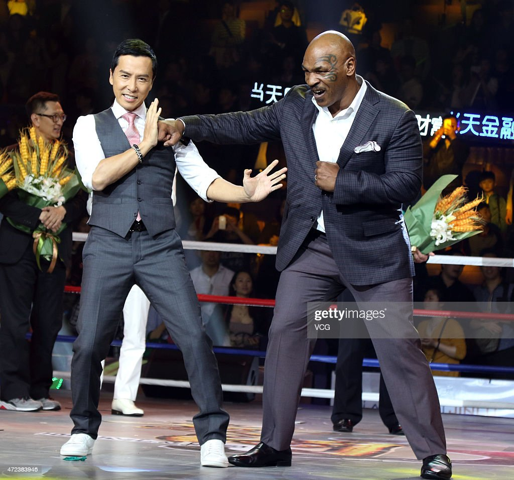 American retired professional boxer Mike Tyson and actor Donnie Yen attend press conference of 'Ip Man 3' directed by director Wilson Yip Wai Shun on...