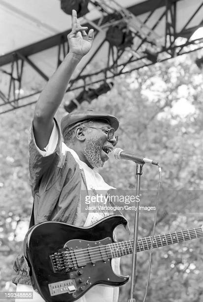 American rhythm blues and soul musician Curtis Mayfield performs at Central Park's SummerStage New York New York July 7 1990 Five weeks later...