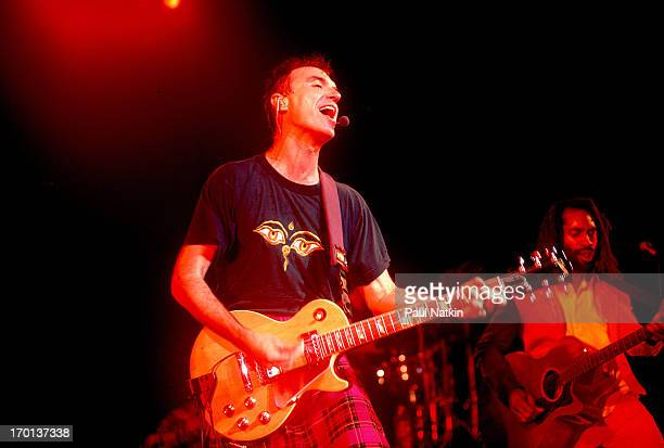 American rock and pop musician David Byrne performs onstage Chicago Illinois August 21 1997