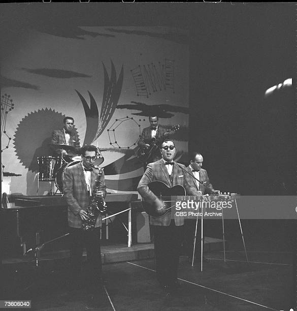 American rock and roll band 'Bill Haley and His Comets' perform on the television program 'The Big Record' New York New York November 13 1957 Visible...