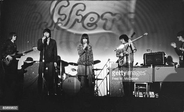 American rock and roll band Jefferson Airplane perform on stage at the Fillmore East concert venue New York New York January 8 1968 Pictured are from...