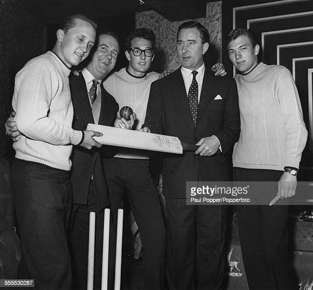 American rock and roll band The Crickets meet English cricketers Godfrey Evans and Denis Compton at a press reception April 1958 Left to right...