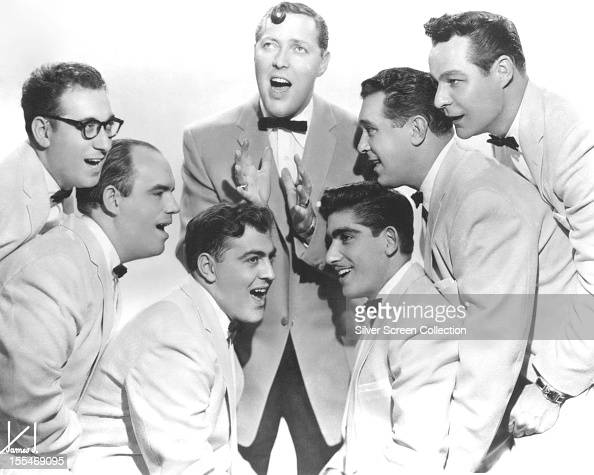American rock and roll singer Bill Haley and his group The Comets 1956 Left to right Rudy Pompilli Billy Williamson Al Rex Haley Johnny Grande Ralph...