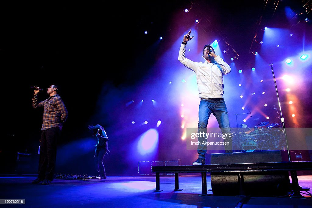 American rock band 311 performs onstage at Verizon Wireless Amphitheatre on August 24, 2012 in Laguna Hills, California.