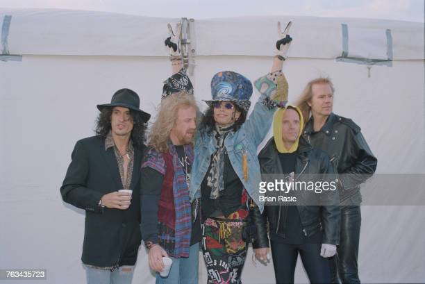American rock band Aerosmith posed together at the 1994 Monsters of Rock festival at Castle Donington in Leicestershire England on 4th June 1994 The...