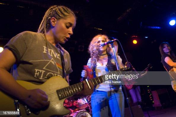 American rock band Antigone Rising perform on stage at Martyr's nightclub Chicago Illinois October 3 2006 Pictured are guitarist Cathy Henderson and...
