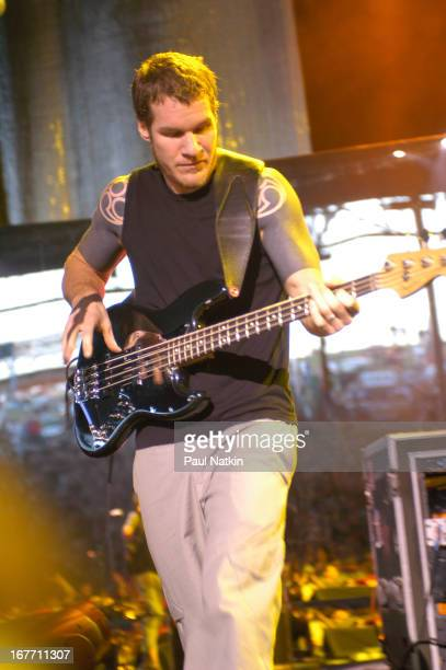American rock band Audioslave performs on stage Milwaukee Wisconsin July 11 2003 Pictured is bassist Tim Commerford