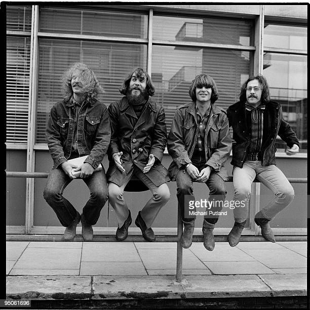 American rock band Creedence Clearwater Revival at Heathrow Airport London 7th April 1970 Left to right rhythm guitarist Tom Fogerty drummer Doug...
