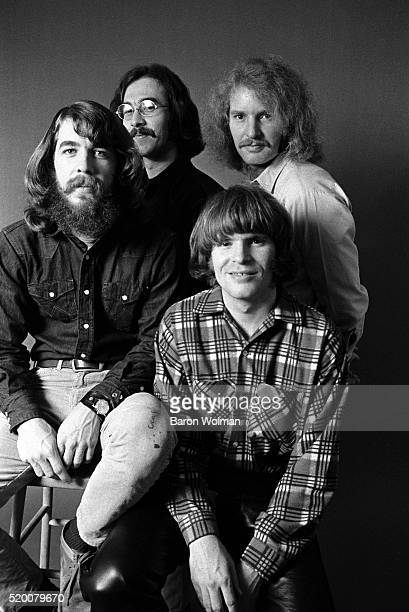 American rock band Creedence Clearwater Revival pose for a group portrait in Oakland CA in January 1970 From left to right Doug Clifford Stu Cook Tom...