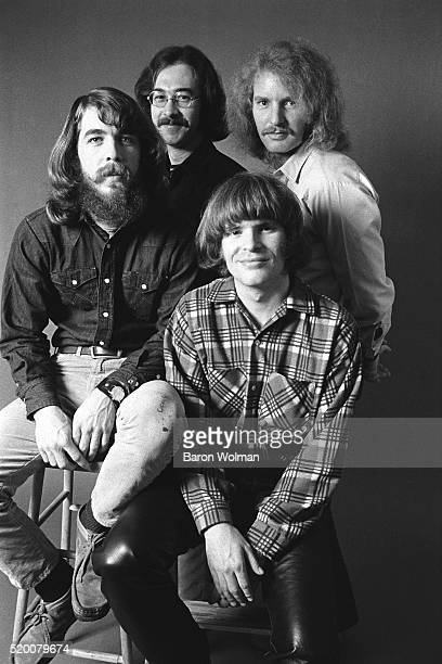 American rock band Creedence Clearwater Revival pose for a group portrait in Oakland CA in January 1970From left to right Doug Clifford Stu Cook Tom...