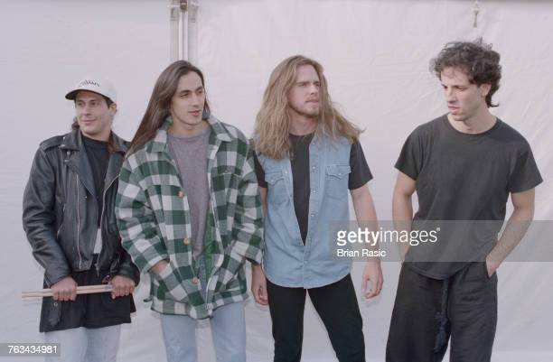 American rock band Extreme posed together at the 1994 Monsters of Rock festival at Castle Donington in Leicestershire England on 4th June 1994 the...