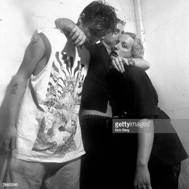 American rock band Green Day bassist Mike Dirnt lead vocalist/guitarist Billy Joe Armstrong and drummer Tre Cool pose for a July 1994 portrait at...