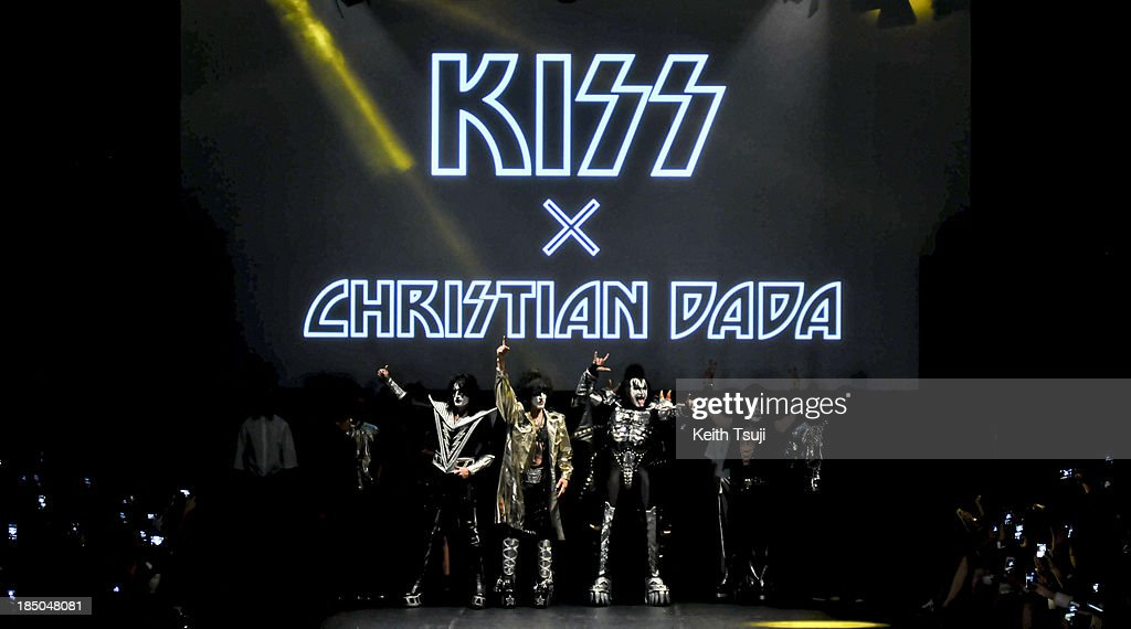 American rock band KISS on the runway during the Christian Dada show as part of Mercedes Benz Fashion Week Tokyo 2014 S/S at Hikarie Hall A of Shibuya Hikarie on October 17, 2013 in Tokyo, Japan.