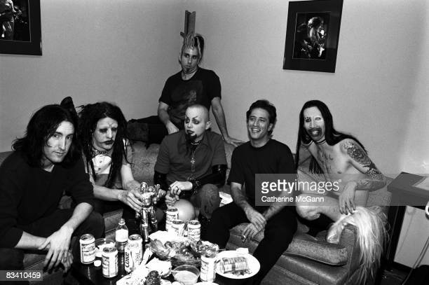 American rock band Marilyn Manson American musician Trent Reznor of Nine Inch Nails and American comedian Jon Stewart backstage at the taping of the...