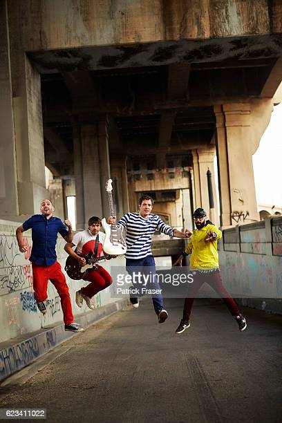 American rock band OK Go band members Damian Kulash Tim Nordwind Dan Konopka and Andy Ross are photographed for The Guardian Magazine on February 3...