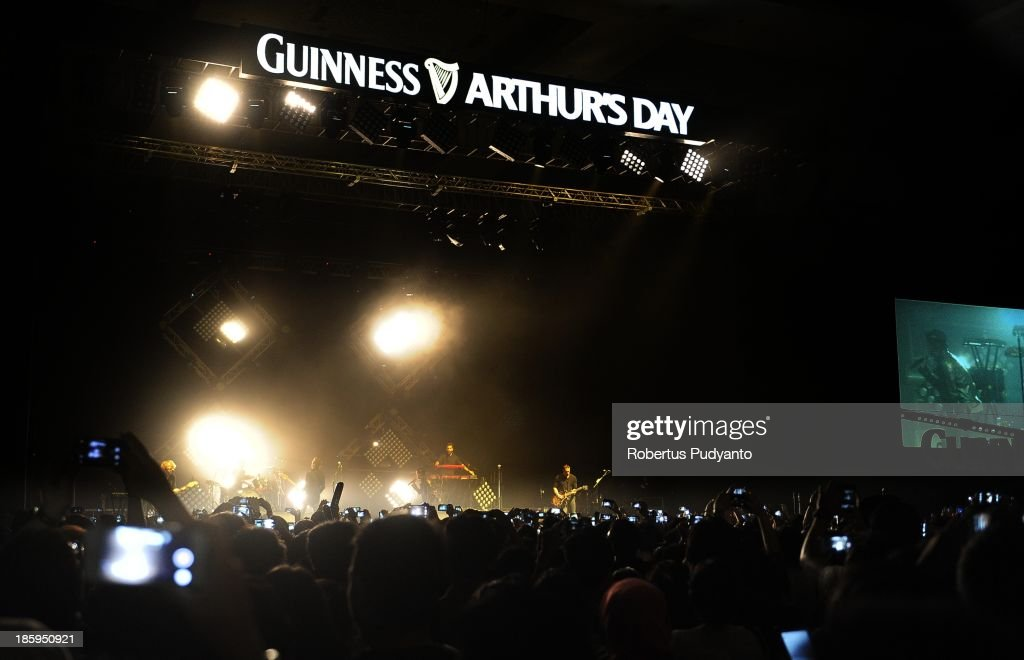American rock band OneRepublic performs at the annual Guinness Arthur's Day at JIEXPO Kemayoran on October 26, 2013 in Jakarta, Indonesia. Arthur's Day sees fans come together to experience live music and cultural events all over the world in celebration of Arthur Guinness, the founder of Guinness brewing.