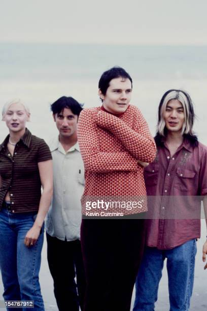 American rock band the Smashing Pumpkins Los Angeles August 1995 Left to right bassist D'Arcy Wretzky drummer Jimmy Chamberlain singer Billy Corgan...