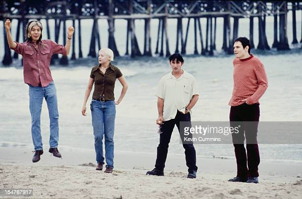 American rock band the Smashing Pumpkins Los Angeles August 1995 Left to right guitarist James Iha bassist D'Arcy Wretzky drummer Jimmy Chamberlain...
