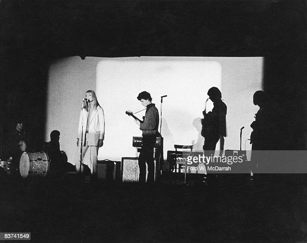 American rock band the Velvet Underground perform at the Filmmakers Cinematheque New York New York February 8 1966 From left American drummer Maureen...