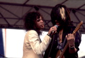 American rock group Aerosmith performs onstage Chicago Illinois August 5 1978 Pictured are Steven Tyler and Joe Perry
